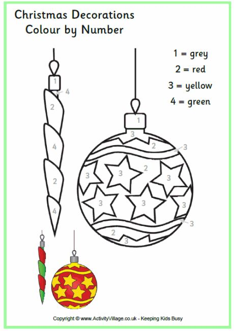 Colour by number Christmas decorations printable
