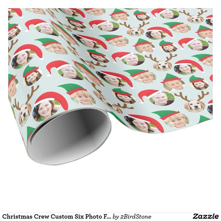 Christmas Crew Custom Six Photo Funny Holiday Gift Wrapping Paper **Scroll down for photo How To, below!** This funny and very merry Christmas gift wrapping paper will delight your friends and family when you personalize it with the photos of your kids, parents, friends and even pets putting the whole crazy cast of characters in silly holiday Santa and elf hats. There is even a pair of reindeer antlers for that extra special person in your life. HOW TO: For best results, upload six…