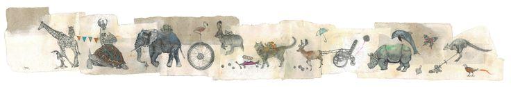 Sarah Tse, Animal Migration, 2013, Mixed media on handmade paper, 200 x 43 cm, Reverie   Artify Gallery