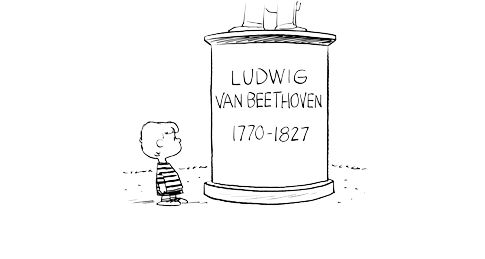 Charlie Brown leans against Schroder's piano, wear....@Snoopy