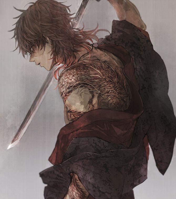 Anime Characters With Tattoos : Best touken ranbu ookurikara images on pinterest