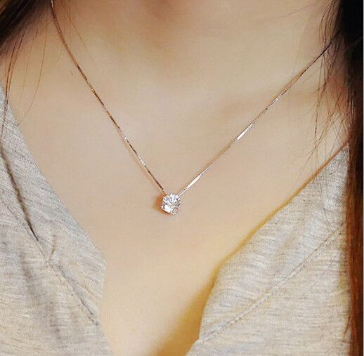 Free Shipping 925 Sterling Silver Jewelry AAA Zircon CZ Diamond Six Claw Maxi Necklace Necklaces & Pendants For Women D206