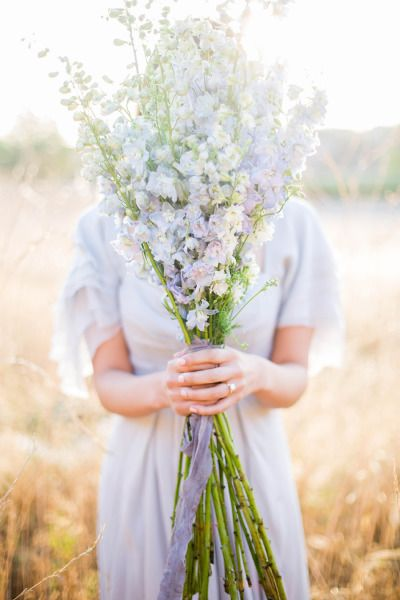 Delphinium bouquet: http://www.stylemepretty.com/2015/06/25/california-sunrise-engagement-session/ | Photography: Sally Pinera - http://sallypinera.com/