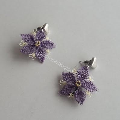 Needle lace flower earrings.