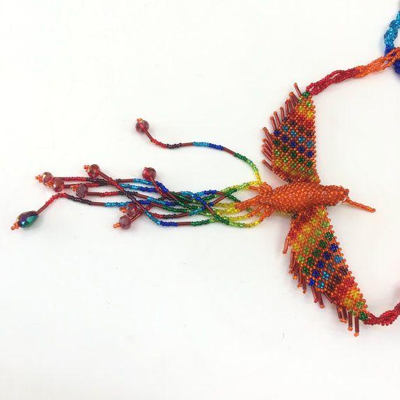 Gypsy Hippie Ethinic Hand Beaded Phoenix ketting zaad kraal geweven volkskunst Maya woodstock Latijns-Amerika in Mexicaanse stijl gemaakt in Guatemala 01