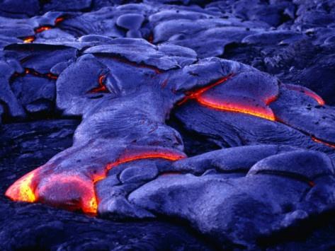 Glowing New Lava Flows Near Chain of Craters Road, Hawaii Volcanos NP, Hawaii (Big Island), USA Photographic Print
