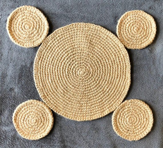 Crochet Jute Tablemat And 4 Coasters Handmade From 3 Ply Etsy Jute Twine Twine Table Mats