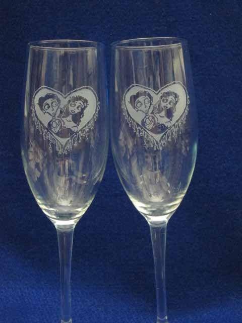 Corpse Bride Victor Emily Wedding Glasses Flute Engrave