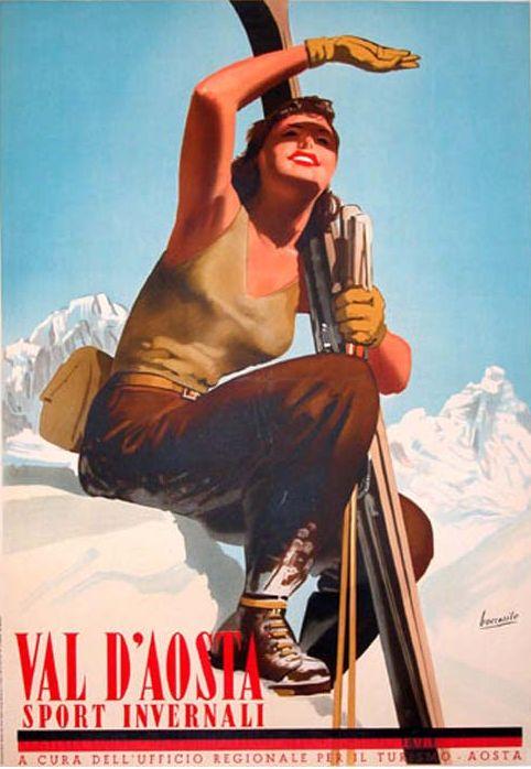 Italian ski poster | Gino Boccasile (1901-1952)