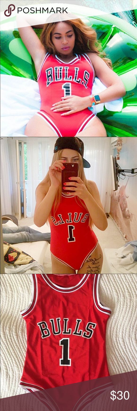 Beyoncé BULLS Red Bodysuit Jersey Sizes S-XL  ♦️♦️ MUST HAVE TREND ♦️♦️  Selling BRAND NEW Red Beyoncé BULLS Bodysuit ONLY $30!!  In stock in Sizes S-XL!!   BEST SELLER! VERY stylish. Perfect as a swimsuit or wear with jeans for a chic OOTD! ️ ⋅ Please Comment below the size   ANY 2 Bodysuits (Mix & Match DOPE Bodysuits in Black, White or Bae Watch Bodysuit) any 2/$50!    Real customer feedback photos added!! (Second & Fourth picture) Forever 21 Swim One Pieces