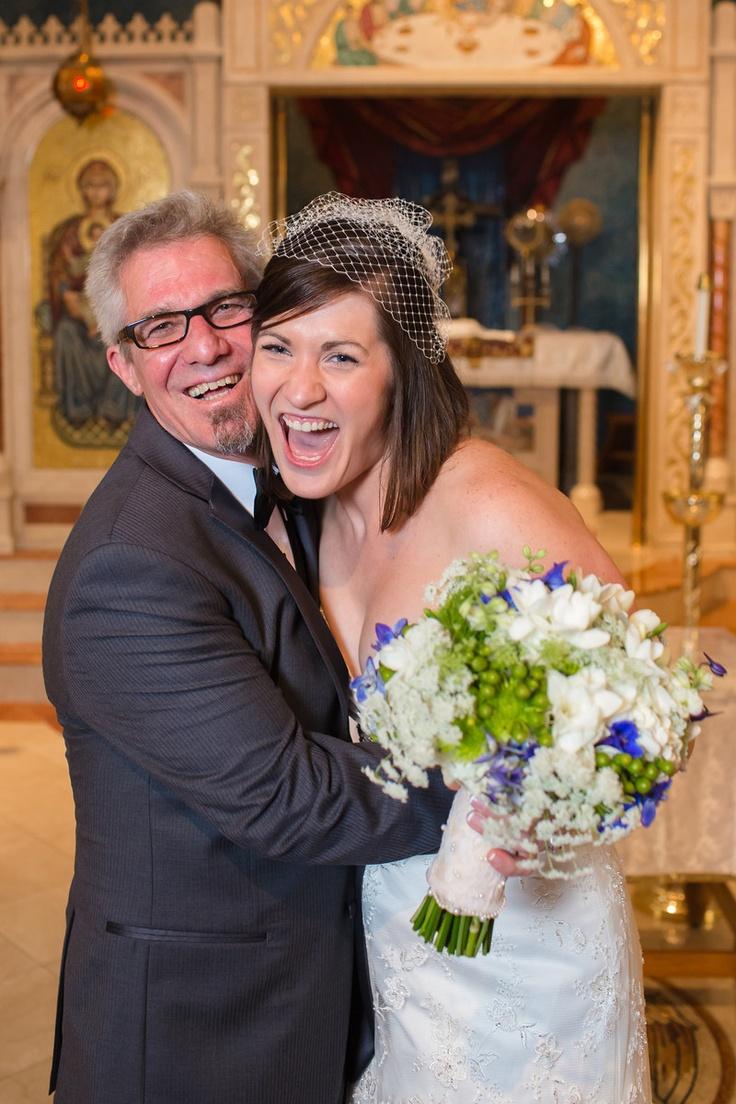 Father of the Bride - Greek Wedding - Bridal Bouquet - Hydrangeas - Blue White Green Flowers - Knoxville TN florist - www.lisafosterdesign.com