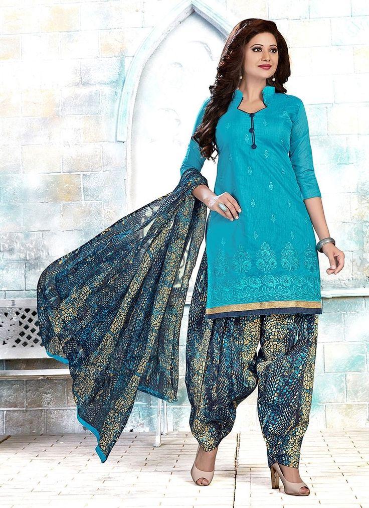Shop Online Blue Chanderi #PatialaSuits @Chennaistore.com