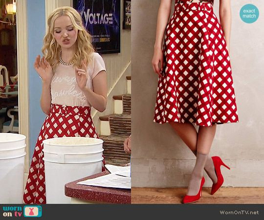 Liv's red checked skirt on Liv and Maddie.  Outfit Details: https://wornontv.net/55772/ #LivandMaddie
