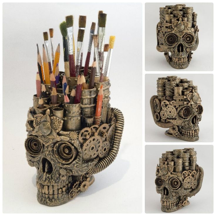 A Steampunked Skull Brushholder... Chinese Style ...being sold on Etsy - no!! I will not go and see the price !!!