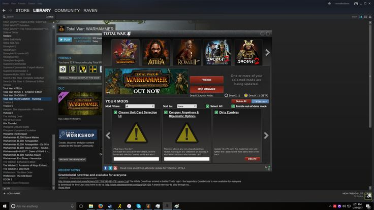 Some Warhammer Steam Workshop mods are downloaded/subscribed but stuck 'updating'. Anyone else having this problem or know of a fix?