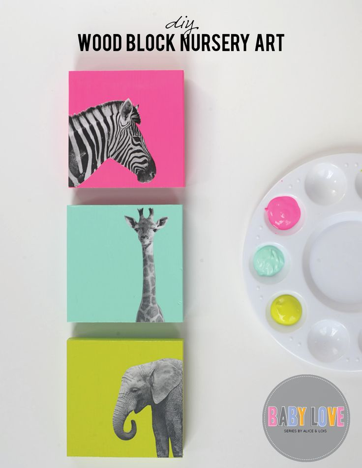DIY nursery art: Find great images and modge podge on brightly colored blocks for a fun punch of color to your room