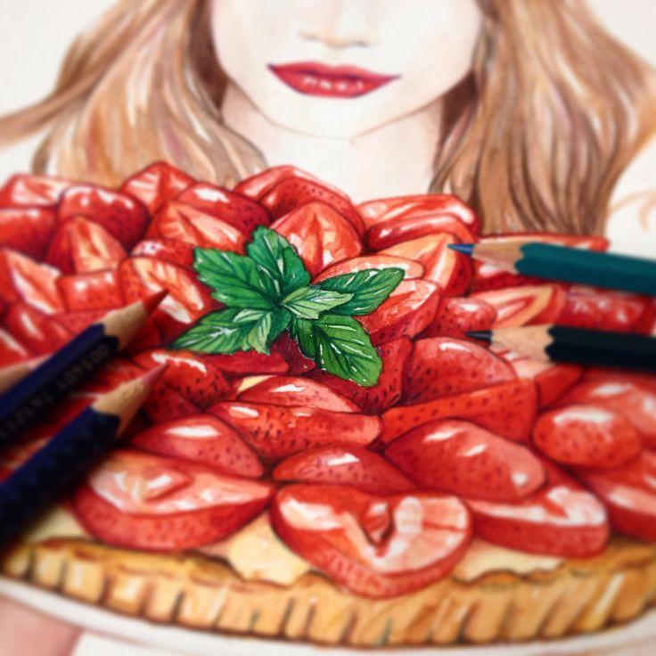 Lutheen - Strawberries https://www.facebook.com/lutheen.illustration/