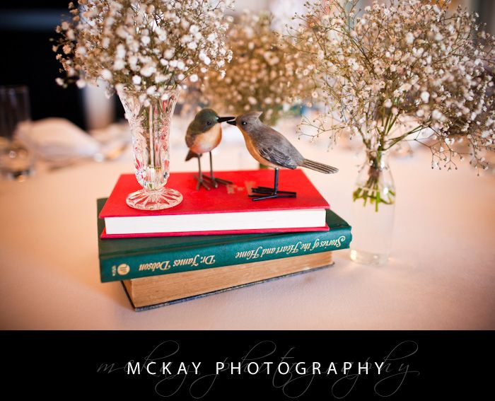 Wedding table details - books & birds - by McKay Photography