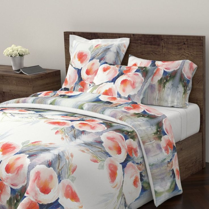 Wyandotte Duvet Cover featuring Roses in the Rain by wildflowerfabrics | Roostery Home Decor