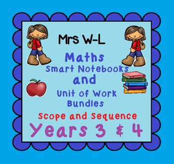 This is a scope and sequence that shows exactly what Year 3 & 4 Maths Smart Notebook and Unit of Work bundles I offer in my store. You will notice that I have indicated the TpT Name, the downloaded file name, the indicators as well as the status - Available, Not Available Yet and COMING SOON.