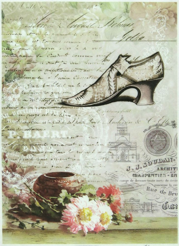 Ricepaper / Decoupage paper, Scrapbooking Sheets High Hill Shoes with Flowers