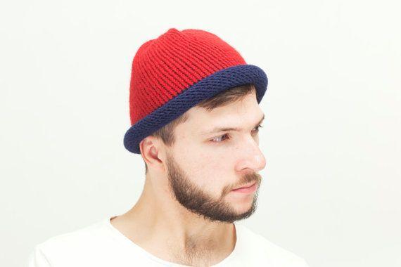 Blue Mens Knit hat Cloche Hat Red Men Wool Beanie by OneHatStore