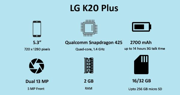 LG company brings a new light-weighted flagship smartphone LG K20 Plus.  This flagship Android phone was released in December 2016 with a fantastic camera and Aesthetic design.