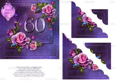 Opulent Rose Age 60 Scalloped Corner Stacker Card on Craftsuprint designed by Lisa Baglietto - This gorgeous floral card is perfect for celebrating a female birthday. It is easy to make with stunning results! - Now available for download!
