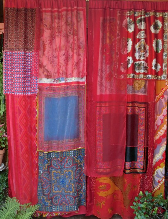 CRYSTAL VISIONS Handmade Gypsy Curtains by BabylonSisters on Etsy: Decor, Scarfs Curtains, Etsy Pretty, Fabrics Curtains, Pretty Colors, Curtains Scarfs, Handmade Curtains, Gypsy Curtains, Crystals Vision