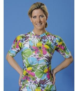 T-shirt anti UV Mayoparasol pour femme, collection Grafifik.  >> Découvrez toutes nos collections de maillots de bain anti UV et vêtements anti UV bébé, enfant, adulte sur www.mayoparasol.com