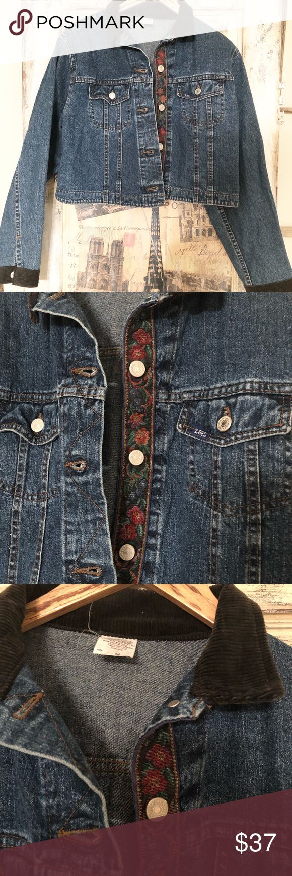 Vintage Cropped Lee jean jacket Adorable cropped Vintage Lee jean jacket with black corduroy collar and cuffs. There is a floral embroidered like strip running down inside where button holes are. Very cute and on trend! Lee Jackets & Coats Jean Jackets