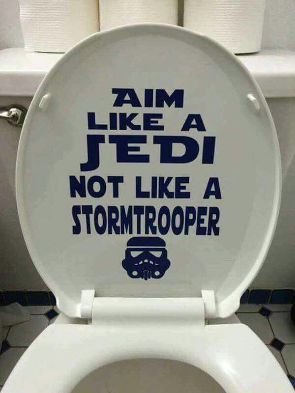 For a house with boys. Star wars toilet seat quote. #starwars #stormtrooper #bathroom