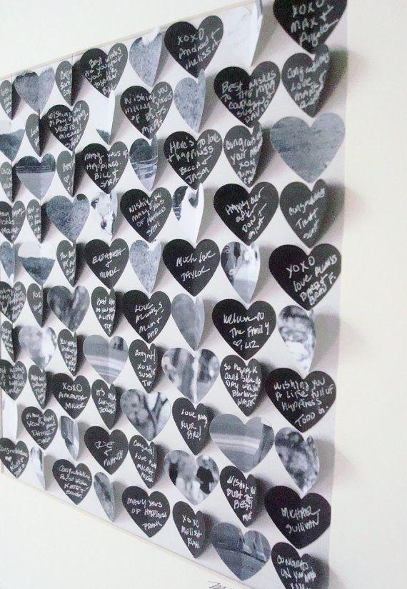 Modern wedding guest book alternative / 3D Heart by CeladonHome