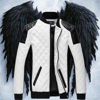 Wish | New fashion winter herren marke kleidung mode schwarz  slim warm männer Motorrad jacket