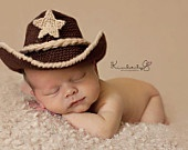 Baby Cowboy Hat and Boots Chocolate Brown And Tan Newborn and beyond. Etsy.