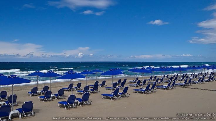 Sandy beach of Rethymno, Crete, Greece.