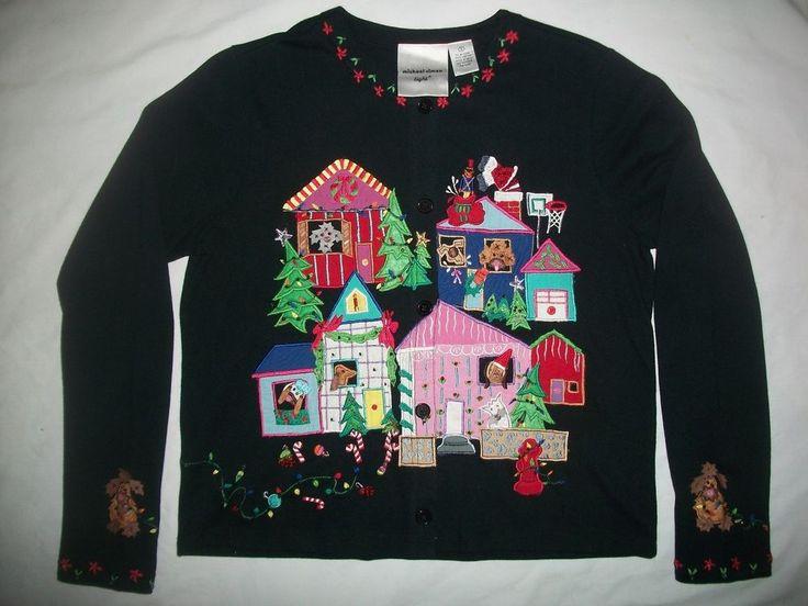 Michael Simon Christmas Dog Sweater Lite Hound Puppy Animal Basset Dachshund S #MichaelSimonLite #Cardigan