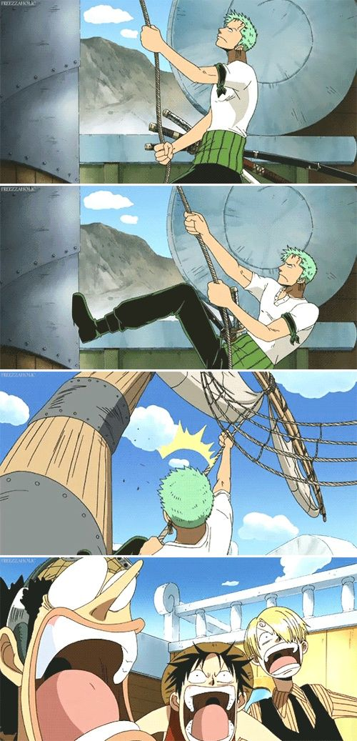 That was funny  Zoro's too strong for his own good poor Merry sigh. Zoro should not allowed to touch anything LOL