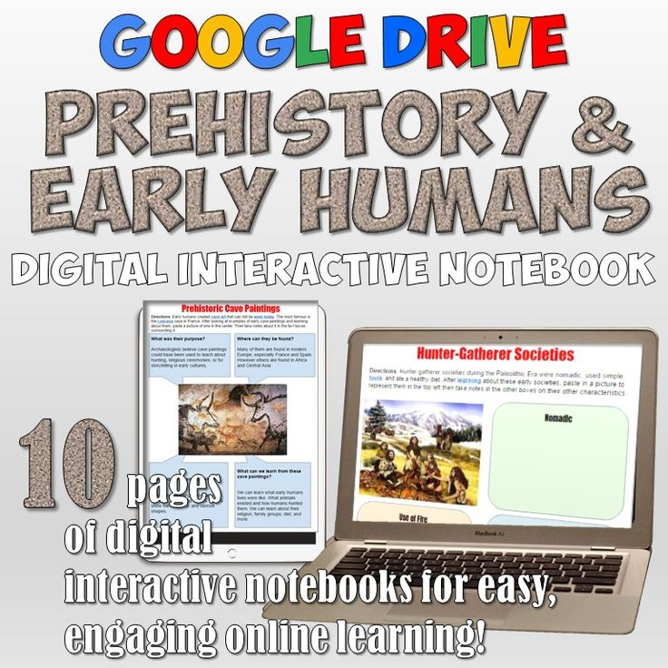 Prehistoric Man Activities in a Google Drive digital notebook! 10 awesome pages of interactive resources!