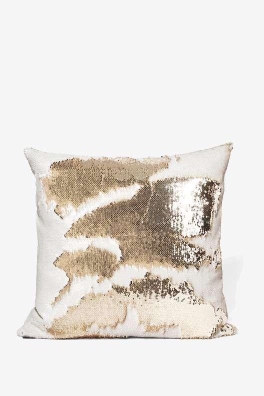 Aviva Stanoff Champagne Mermaid Sequin Pillow
