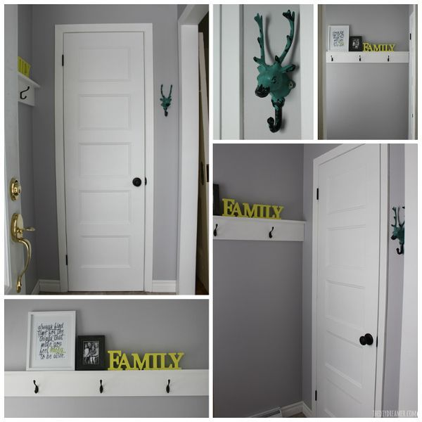 Small Entryway Makeover and Decorative Shelf with Hooks. You will not believe how the entryway looked before the transformation!