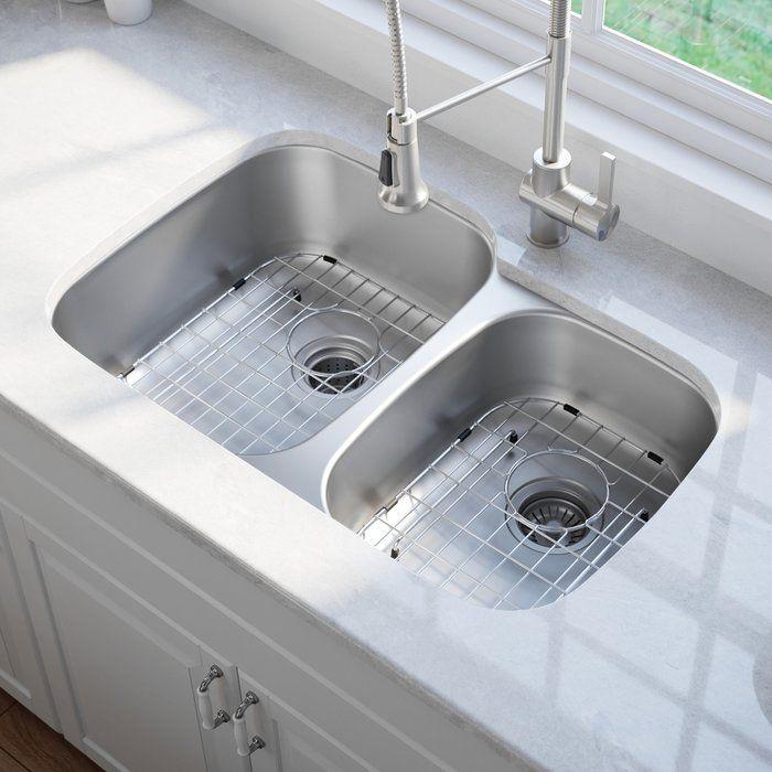 Premier 34 X 21 Double Basin Undermount Kitchen Sink With Basket Strainer Double Bowl Kitchen Sink Undermount Kitchen Sinks Kitchen Sink Double bowl undermount kitchen sink
