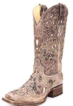 Corral Ladies Boots Distressed Brown with Bone Inlays and Brass Stud Accents!  AHHH, I need these boots!