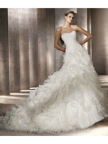 Organza A-Line Strapless Softly Curved Neckline Beaded Bodice Wedding Dress