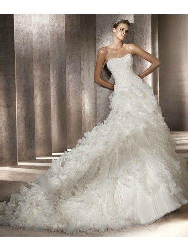 Organza A-Line Strapless Softly Curved Neckline Beaded Bodice Wedding Dress