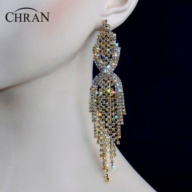 "Chran Luxury Bridal Gold Color Clear Rhinestone Crystal Earings Wedding Party Dangle 6.5"" Chandelier Drop Earings Jewelry LE604 #Affiliate"