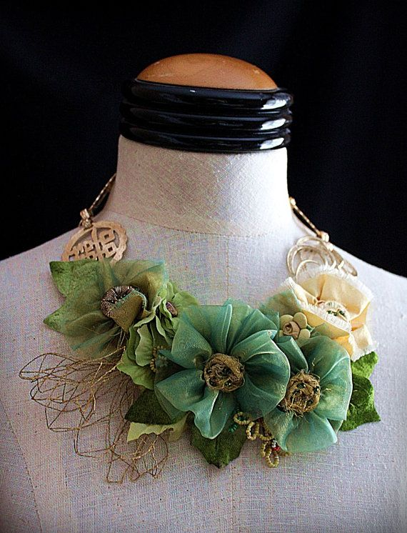SHANGHAI SPRING Mixed Media Statement Necklace by carlafoxdesign, $195.00