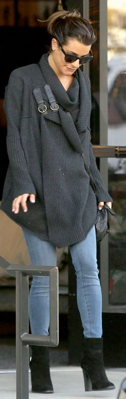 Lea Michele: Sweater – Ralph Lauren  Purse – Givenchy  Shoes – Saint Laurent