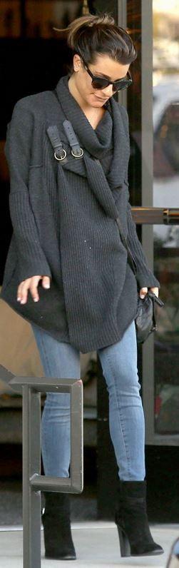 Lea Michele: Sweater – Ralph Lauren  Purse – Givenchy  Shoes – Saint Laurent
