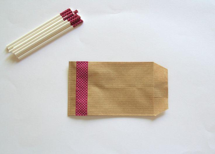 10 pochettes-cadeaux / Sachets kraft avec ornement Prune à pois blanc : Emballages, paquets cadeaux par boutique-creative-by-c-dona